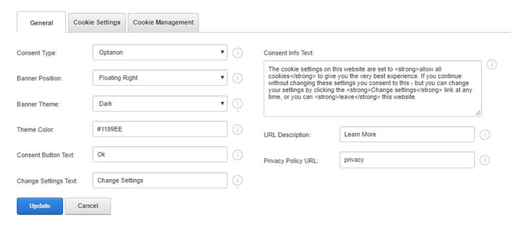Consent Module Settings