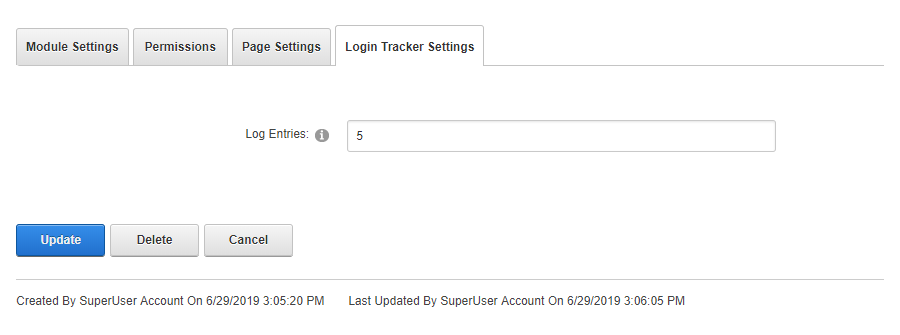 Login Tracker Settings