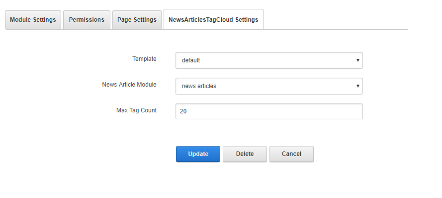 News Article Tag Cloud Settings