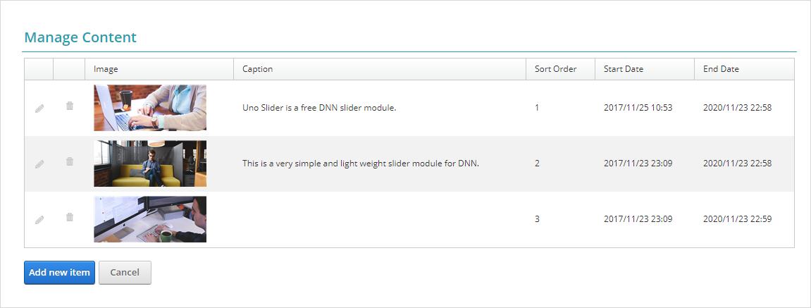 uno slider manage slides