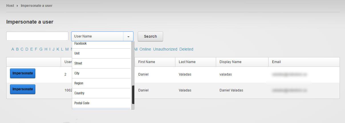 Eraware User Impersonator Screenshot