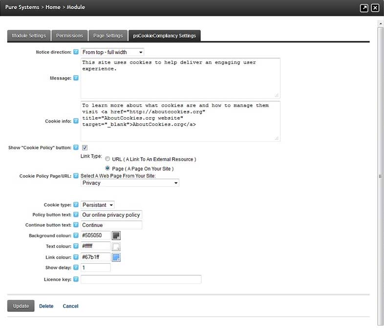 Module Settings Page