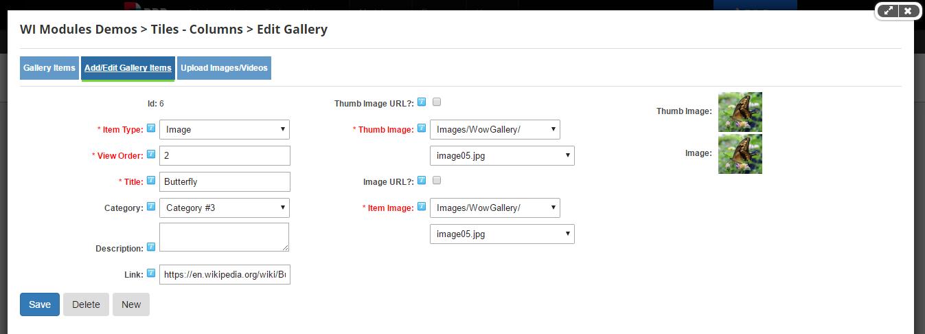 Add/Edit Gallery Item