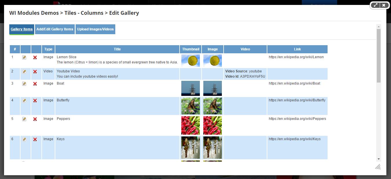 Gallery Items List