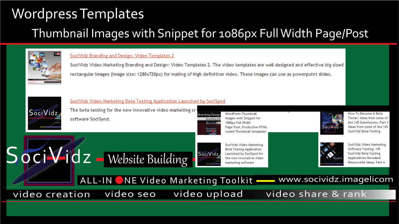 WordPress Templates: Thumbnail Images with Snippet for 1086px Full Width Page/Post featured image