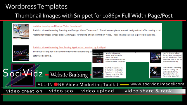 WordPress Templates: Thumbnail Images with Snippet for 1086px Full Width Page/Post thumbnail