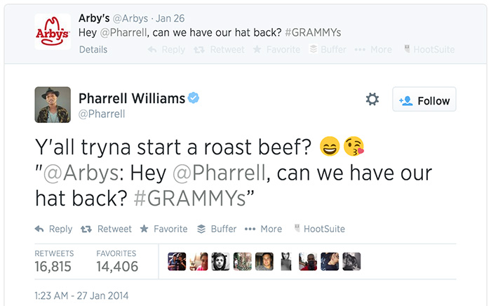 Arby's and Pharrell tweets at the #grammys