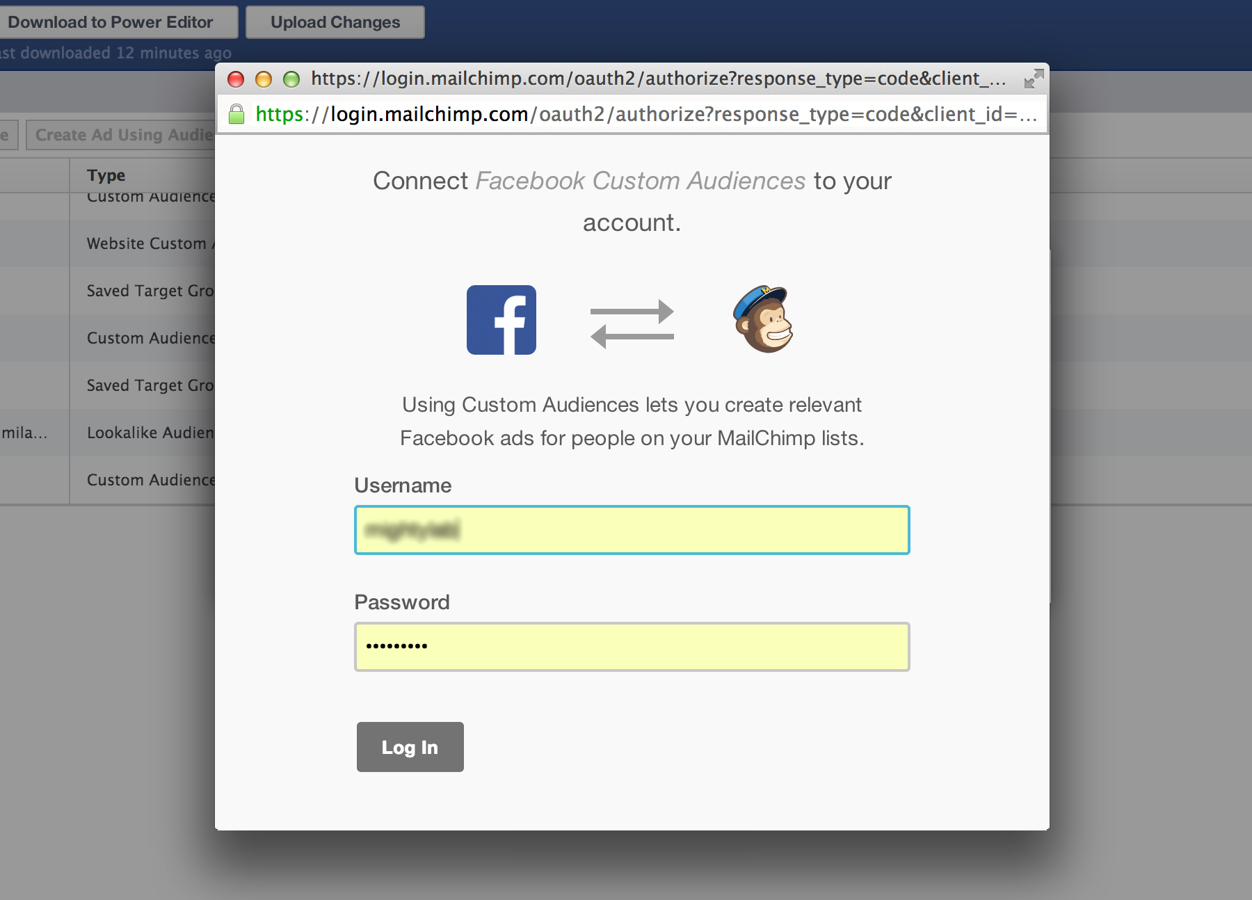 Connect Facebook and Mailchimp