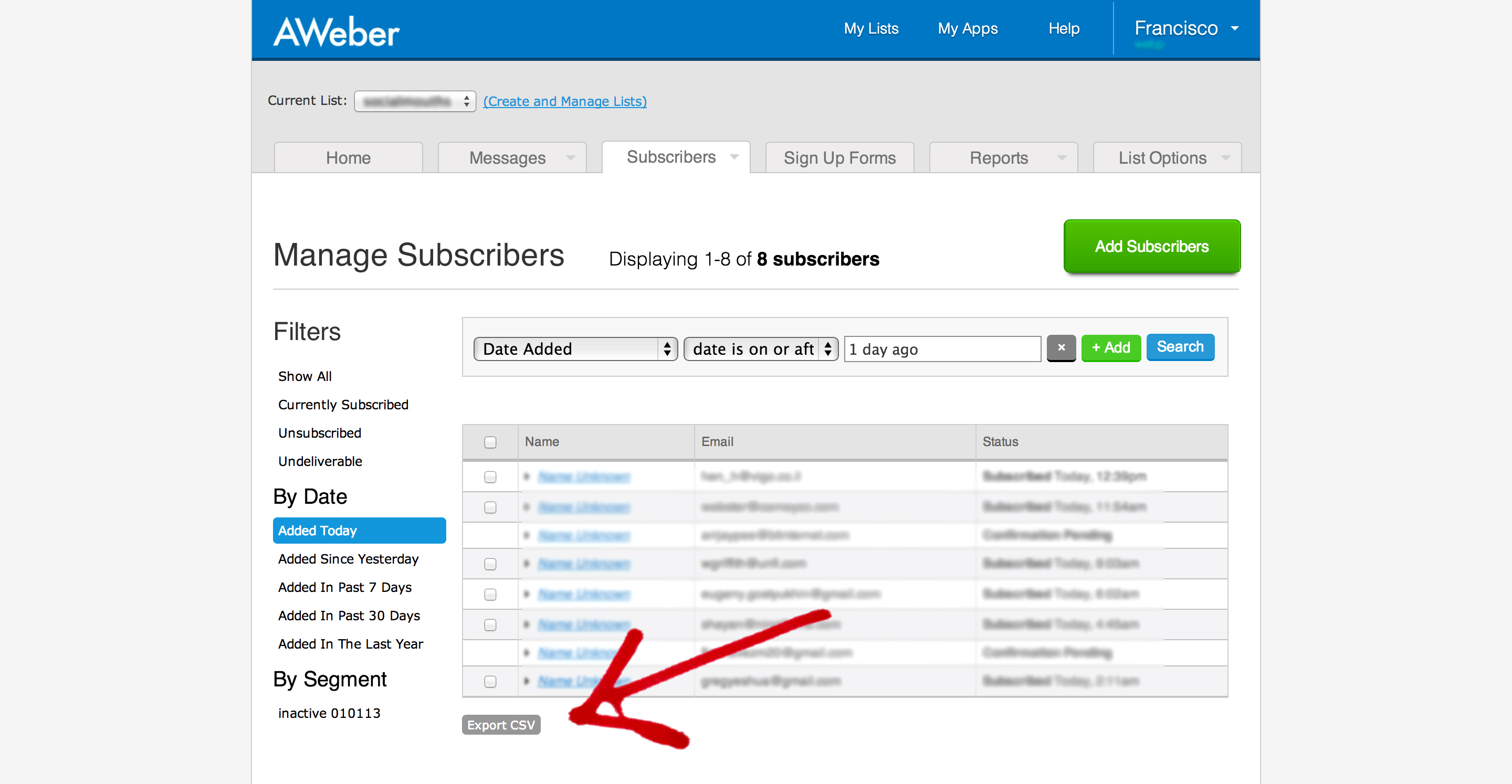 Export your email list from Aweber