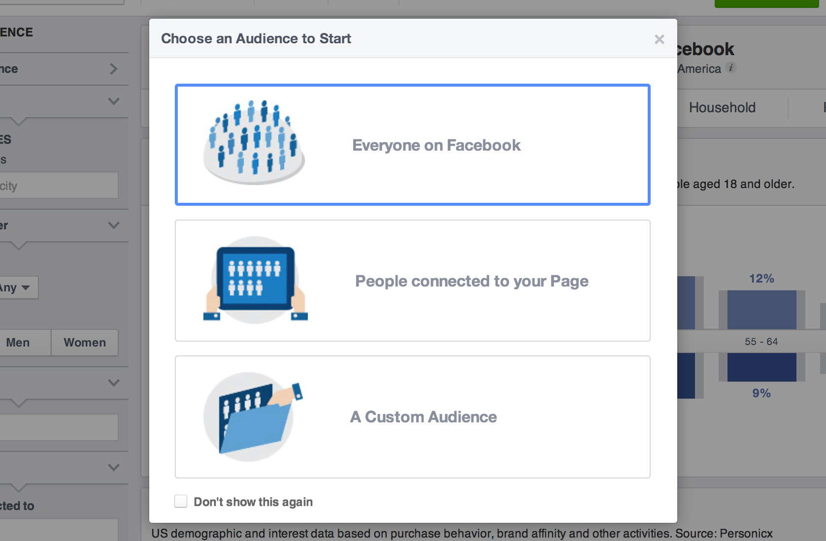 Facebook Audience Insights - Choose an Audience to start