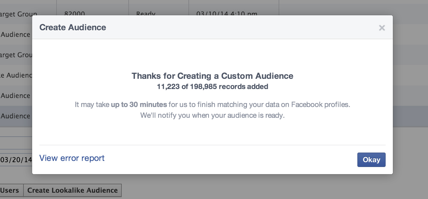 Facebook matches your email list with profiles