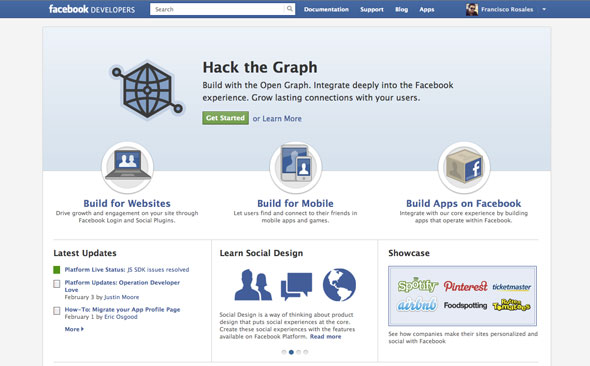 Facebook Developers Website
