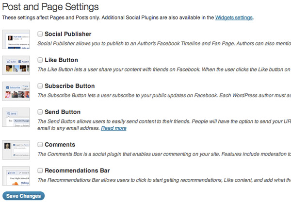 Facebook for WordPress Post and Page Settings