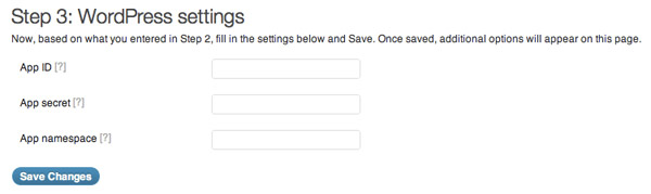 Facebook for WordPress Plugin Settings