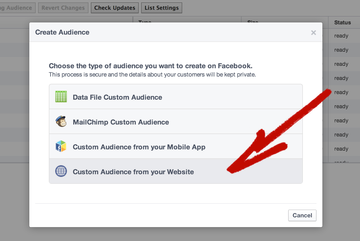 Facebook Website Custom Audience