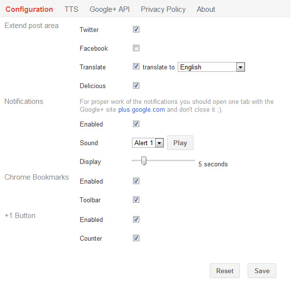Helper for Google+ extension