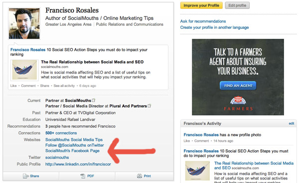 Link to your Facebook Landing Tab from your LinkedIn Profile
