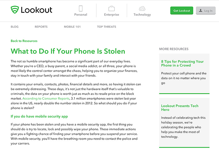 Lookout's Mobile Theft Page