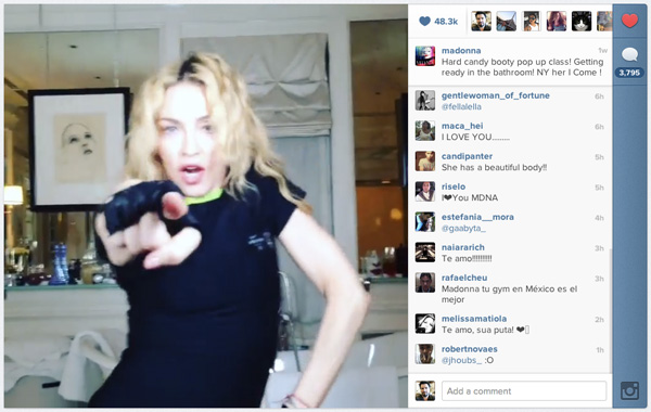 Madonna on Instagram video
