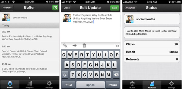 Buffer mobile app to schedule tweets