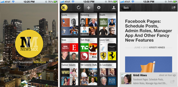 NewsMix to curate content from a smartphone