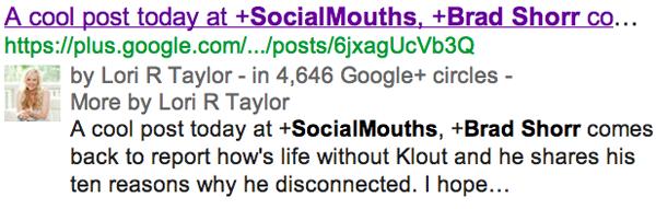 Original content on Google+ is also indexed for SERPs