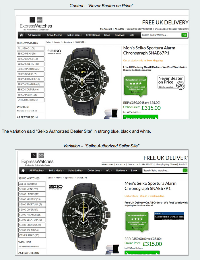UK retailer of watches increased sales of one of its Seiko watches by 107%