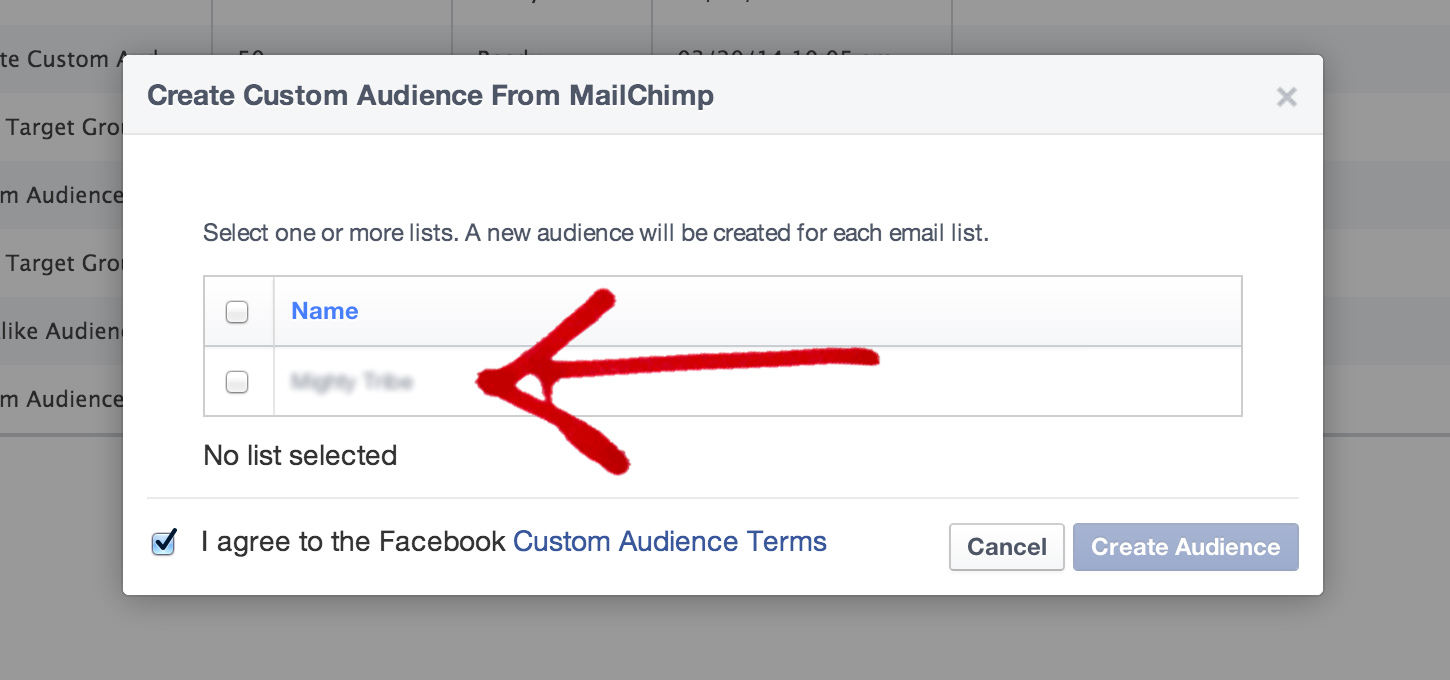 Select your Mailchimp account