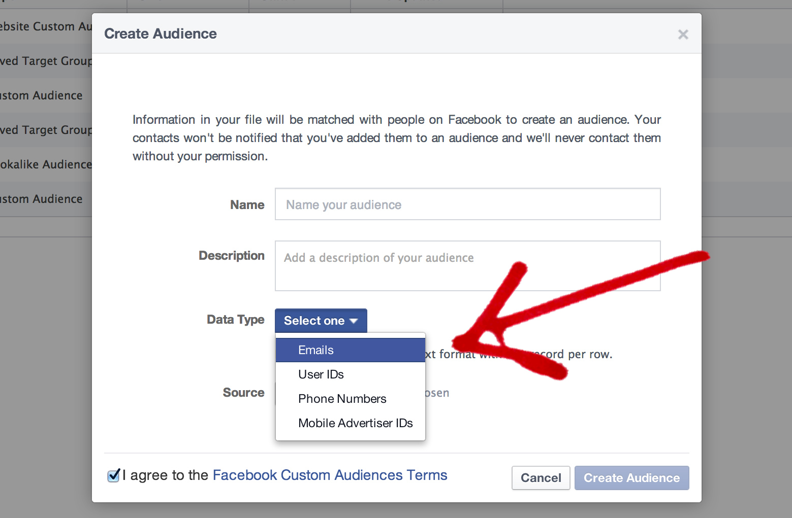 Configure your email custom audience