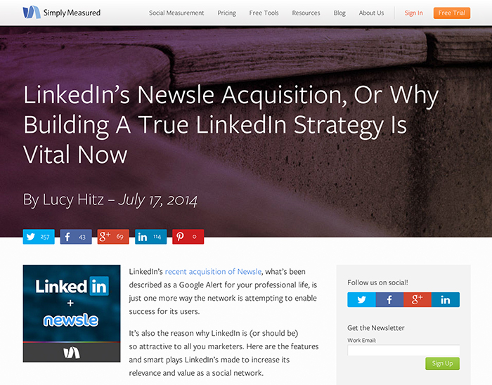 Simply Measured's LinkedIn Acquisition News Coverage