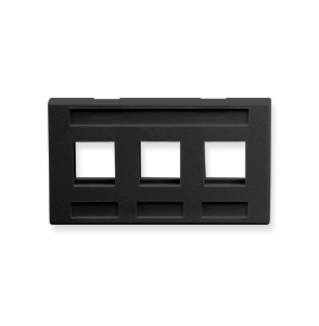 FACEPLATE, FURNITURE, 3-PORT, BLACK