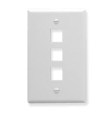 FACEPLATE, OVERSIZED, 3-PORT, WHITE