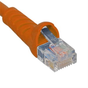 PATCH CORD, CAT 5E BOOTED, 25 FT, ORANGE