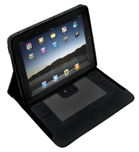 iPad case w/ built-in recharge speakers