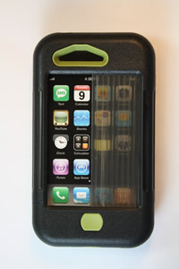 iPhone 3 case - Black w/ Olive Accents