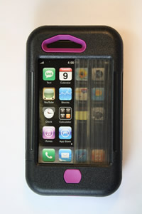 iPhone 3 case black w/ purple accents