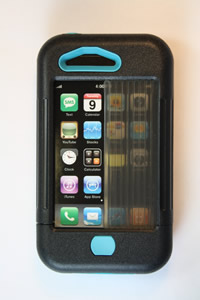 iPhone 3 case black w/ turquoise accents