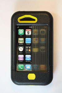 iPhone 3 case black w/ yellow accents