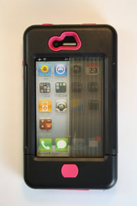iPhone 4 case black w/ pink accents