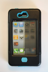 iPhone 4 case black w/ turquoise accents