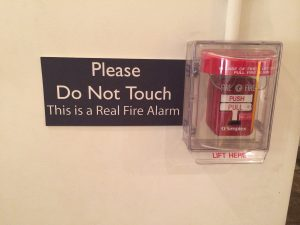 Please Do Not Touch, This is a Real Fire Alarm. Photo by Brad Clinesmith