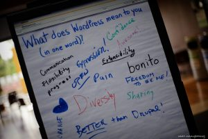Notepad From A WordPress Community Event: What Does WordPress Mean to You (In One Word?)