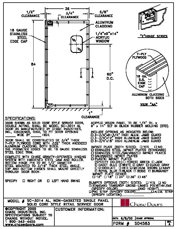 Spec Sheet for ABZ-SC-3014-36X84