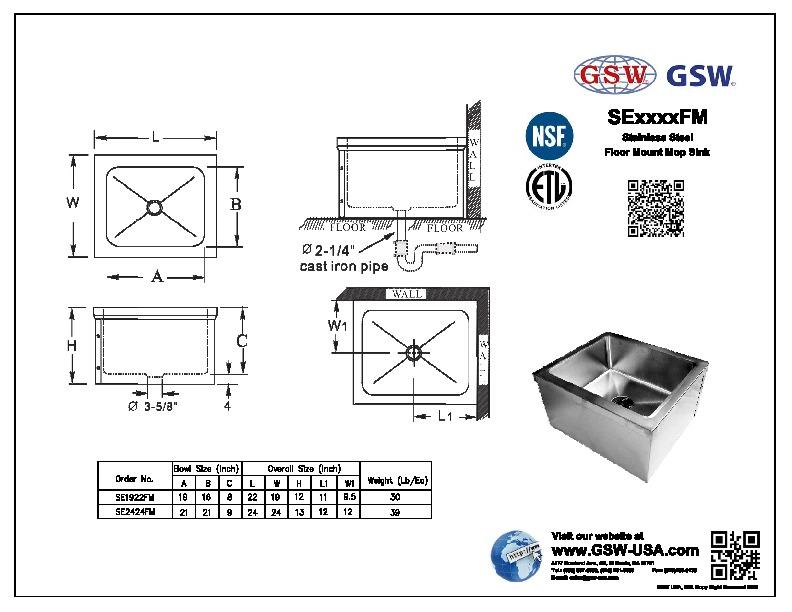 Stainless Steel Mop Sink 24x24 : Alfa img - Showing > Floor Mounted Mop Sinks