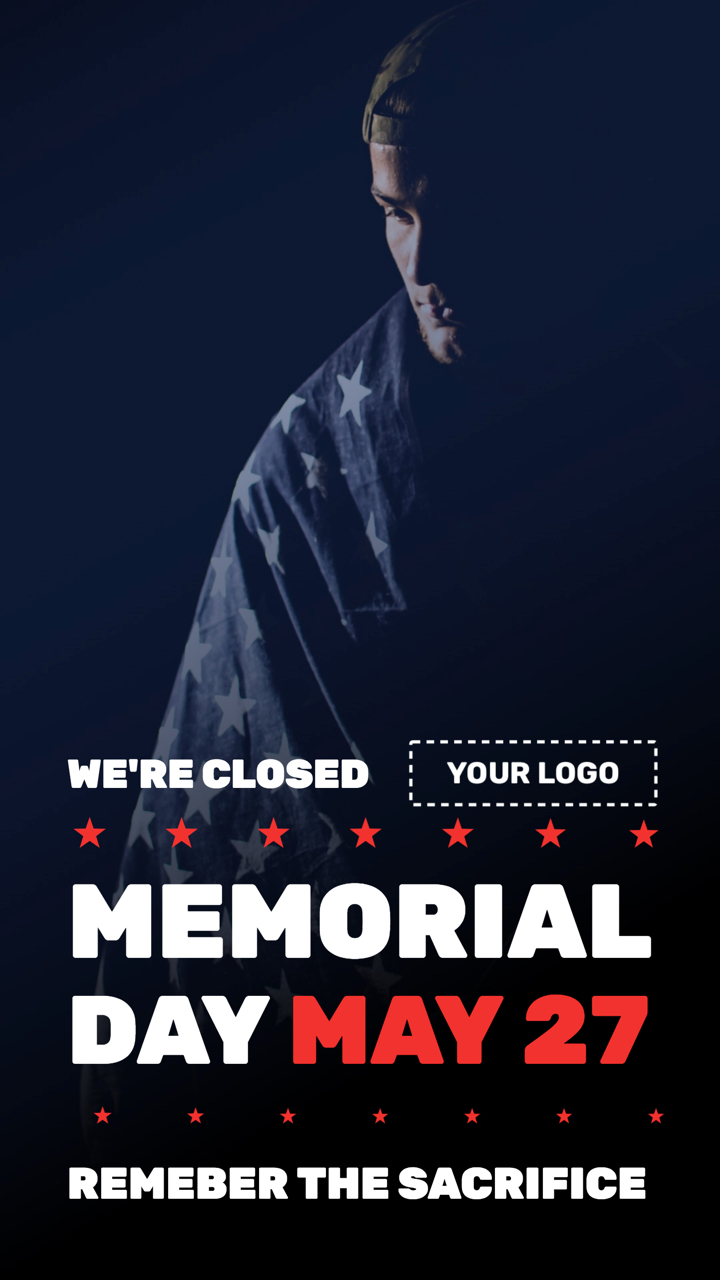 Memorial Day Remember Portrait Digital Signage Template