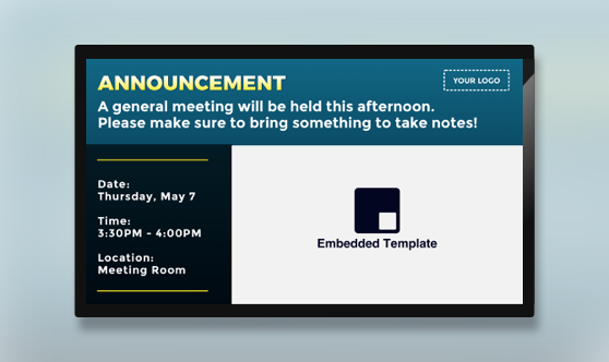 Announcement Text & Embedded
