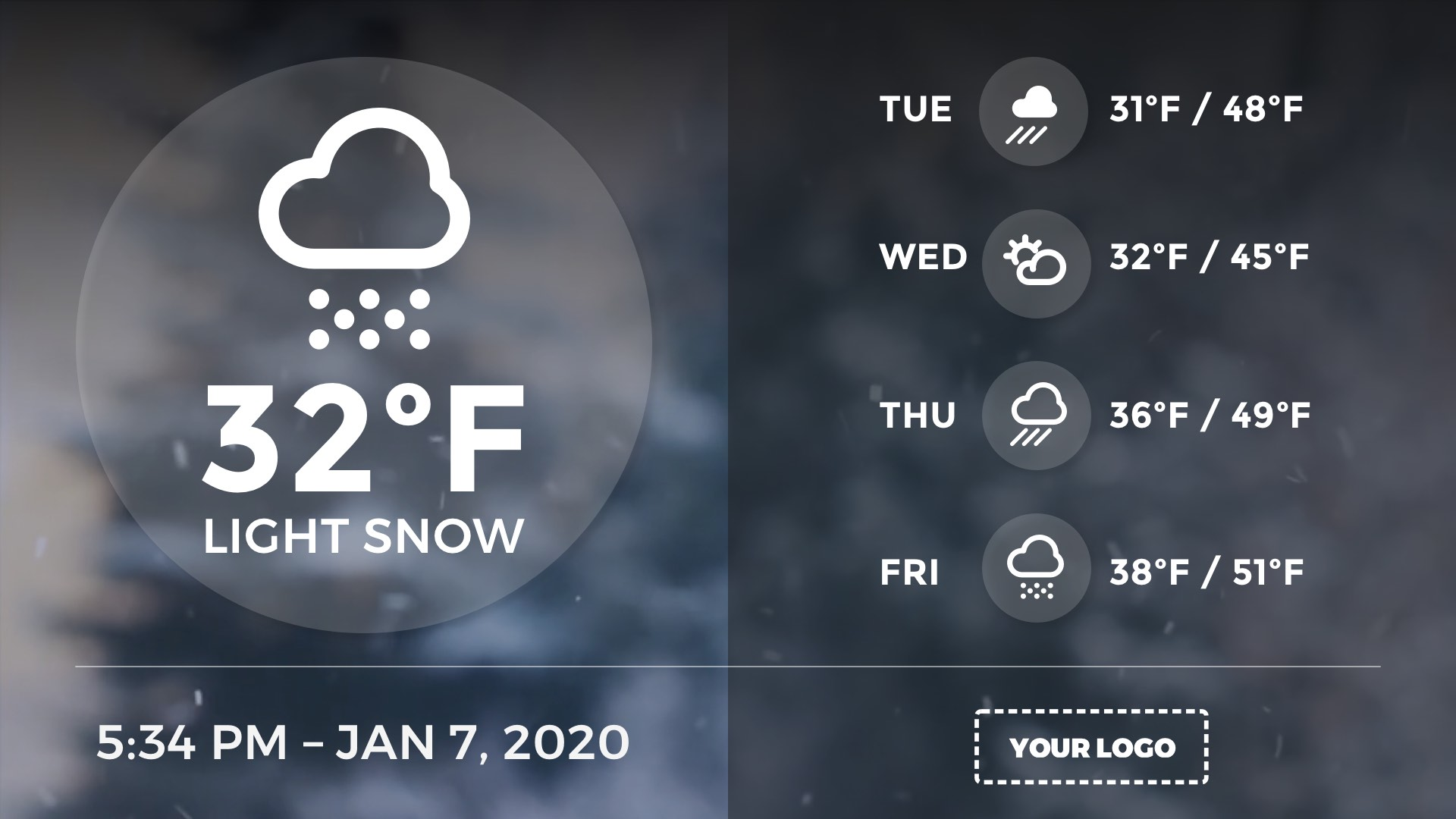 Full Screen Weather Extended Digital Signage Template