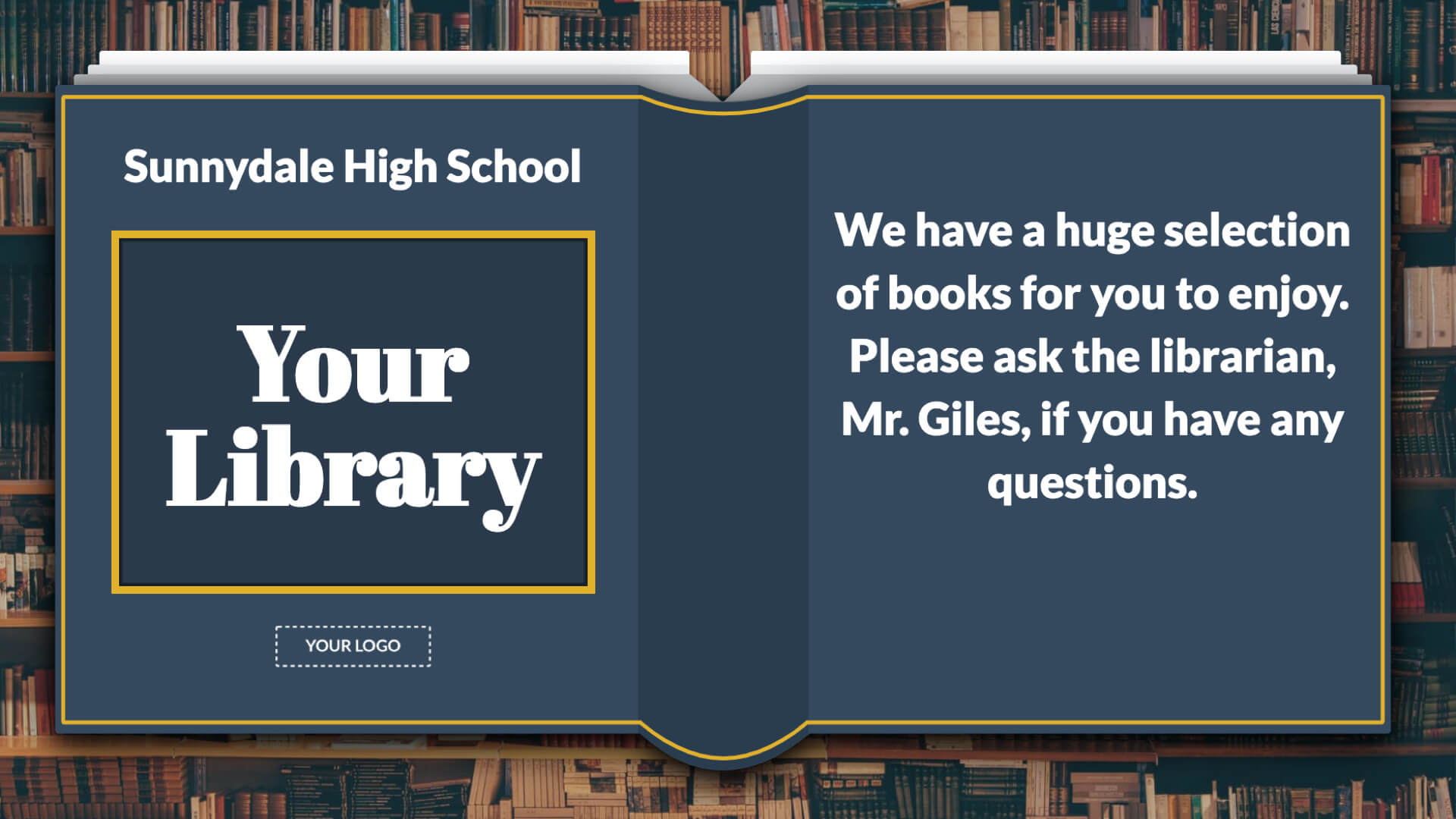 Library Book Quote Digital Signage Template