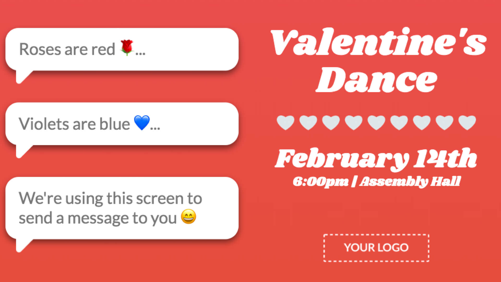Valentine's Day Announcement Digital Signage Template