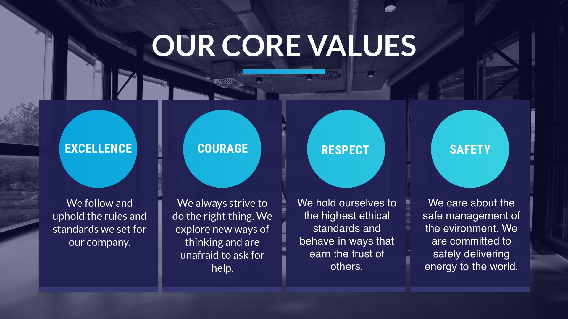 Company Values Grid